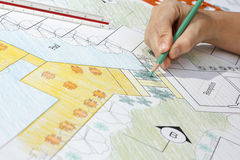 Landscape Architect Design resort plan Royalty Free Stock Photography