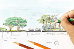 Landscape architect design section plan Royalty Free Stock Photography