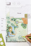 Landscape Architect design water garden plans Stock Images