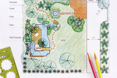 Landscape Architect design water garden plans. For backyard Royalty Free Stock Images