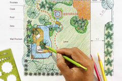 Landscape Architect design water garden plans. For backyard Royalty Free Stock Photography