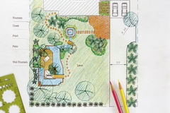Landscape Architect design water garden plans Royalty Free Stock Photo