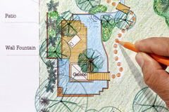 Landscape Architect design water garden plans Stock Photo