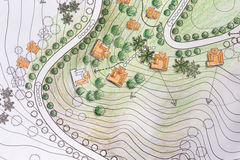 Landscape Architect Designing on site analysis plan. For resort project Stock Photography
