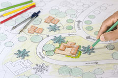 Landscape Architect Designs Blueprints For Resort. Landscape Architect Designs Blueprints For Resort And Villa Stock Images