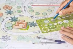 Landscape Architect Designs Blueprints For Resort. Stock Images