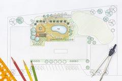 Landscape Architect Designs Pool For Luxury Villa Stock Image