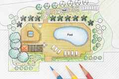 Landscape Architect Designs  Pool For Luxury Villa Royalty Free Stock Photo