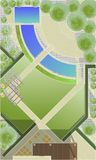 Landscape Architect Drawing. ?lanning of green space on  site Royalty Free Stock Images
