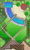 Landscape Architect Drawing. ?lanning of green space on  site Royalty Free Stock Photography