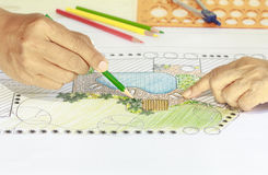 Landscape architect at meeting with client. Landscape architect changing drawing at meeting with client Royalty Free Stock Image