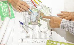 Landscape architect meeting with client Stock Photography