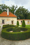 Landscape architecture. Green spliced shrubs and garden house. State Chateau Kratochvile, Czech Republic Stock Image