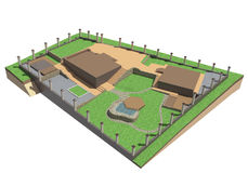 Landscape architecture. Phased 3D renderer designed country house with its surroundings Stock Images