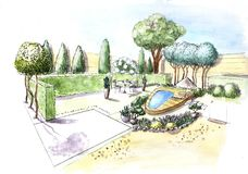 Landscape architecture plan design in the courtyard for Villa. Landscape design project. royalty free illustration
