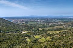 Landscape in the area of Roses, Spain. Landscape with a valley from a hill in the area of Roses, Spain stock photography