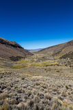 Landscape of an arid valley in the Andean highlands Stock Image