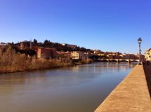 Arno river in Florence. Landscape of the Arno river in Florence in Italy royalty free stock photography
