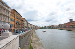 Landscape of Arno River in Pisa, Italy Royalty Free Stock Images