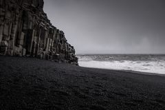 Landscape around black sand beach in Vik, Iceland. Black sand beach in Vik is one of the most beautiful beaches on Earth Royalty Free Stock Photography