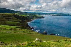 Landscape around Fair head trail in Northern Ireland, United Kingdom. Landscape around Fair head trail. One of the famous attraction in country of antrim near stock photo