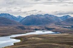 Landscape around Mount John Observatory near Lake Tekapo, New Zealand royalty free stock photo