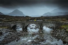 Sligachan old bridge in Scotland. The landscape around this old stone bridge is very beautiful. Also there is a small camping place beside stock image