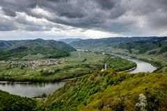 Landscape around the river Donau. Green landscape, dramatic sky Royalty Free Stock Image