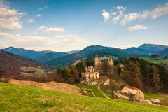 Landscape around ruins of Sklabina castle, Slovakia. stock image