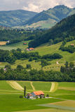 Landscape around small town of Gruyeres Royalty Free Stock Images