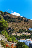 Landscape around white village Casares Malaga in Andalusian Mountains, Spain Royalty Free Stock Image