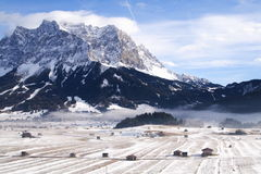 Landscape around the Zugspitze. Open plain in front of the Zugspitze Royalty Free Stock Images