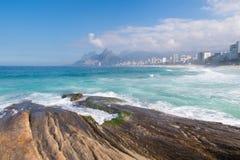 Landscape of Arpoador Beach, Brazil. Landscape of the Arpoador beach including Ipanema, Leblon, mountains and buildings, Rio de Janeiro, Brazil Stock Image