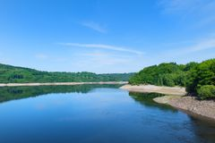 Landscape artificial lake in France Royalty Free Stock Photo