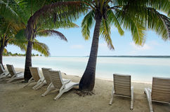 Landscape of  Arutanga island in Aitutaki Lagoon Cook Islands Royalty Free Stock Image