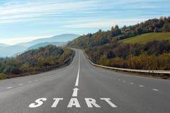 Landscape with asphalt road leading royalty free stock image