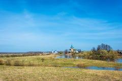 Landscape with the assumption Dunilovskiy women`s monastery, Iva Royalty Free Stock Photo