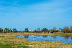 Landscape with the assumption Dunilovskiy women`s monastery, Iva Royalty Free Stock Photography