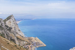 Landscape Atlantic Ocean, the Strait of Gibraltar and Rock of Gibraltar Royalty Free Stock Photo