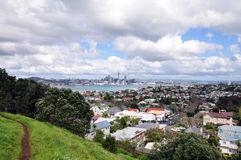 Landscape of Auckland city & devonport downtown, NZ. Views of Auckland city landscape and devonport downtown from Mount Victoria, Devonport, New Zealand Stock Photos