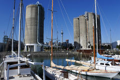 Landscape of Auckland city skyline from Silo Park Royalty Free Stock Photos