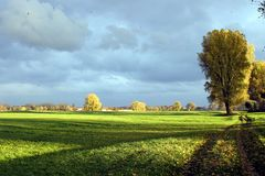 Landscape in autumn. Rural and lonely landscape in evening light stock photo