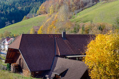 Landscape of autumn countryside wooden farmhouses on green hill and mountains in the background,Germany Stock Image