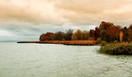 Landscape in autumn at Lake Balaton Royalty Free Stock Image