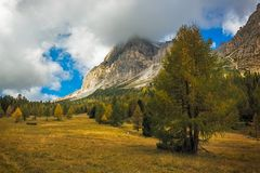 Landscape in autumn at Passo Falzarego, Dolomites, Italian Alps Stock Image