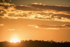Landscape with autumn sunset royalty free stock image