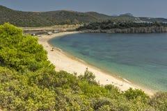 Landscape of Azapiko Beach, Chalkidiki,  Sithonia, Central Macedonia Royalty Free Stock Image