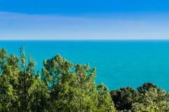 Landscape with azure Black sea under blue sky, Royalty Free Stock Image