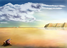 Landscape background. An original stylized illustration of a surreal landscape background