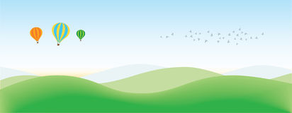 Landscape Background with balloons and Birds Royalty Free Stock Images